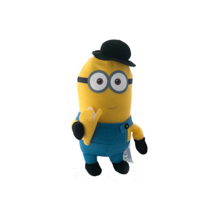 Kleine Minions knuffel Kevin met hoedje en banaan